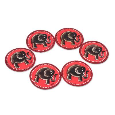Elephant-Themed Cotton Coasters from Ghana (Set of 6)