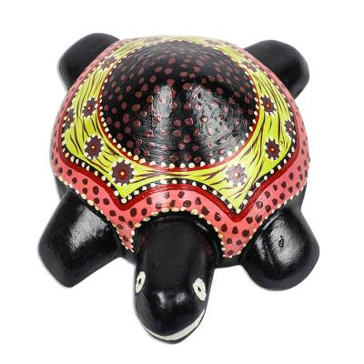 Wood sculpture, 'Slowly' - Hand-Painted Floral Wood Turtle Sculpture from Ghana