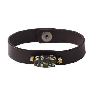 Black Recycled Glass and Leather Pendant Bracelet