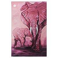 'Sensitivity II' - Expressionist Painting of Two Elephants in Deep Pink