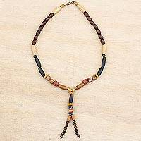 Wood and recycled glass beaded Y-necklace, 'Vital Beauty' - Wood and Recycled Plastic Beaded Y-Necklace from India