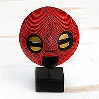 African recycled plastic beaded wood mask, 'Red Delanyo' - African Recycled Plastic Beaded Wood Mask in Red from Ghana