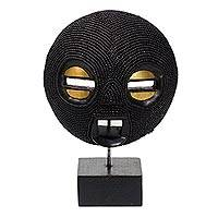 African recycled plastic beaded wood mask, 'Black Delanyo' - African Recycled Plastic Beaded Wood Mask in Black
