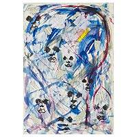 'The Wind Person II' - Signed Expressionist Abstract Painting from Nigeria