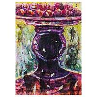 'The Everyday Person' - Signed Expressionist Painting of a Woman Accented with Paper