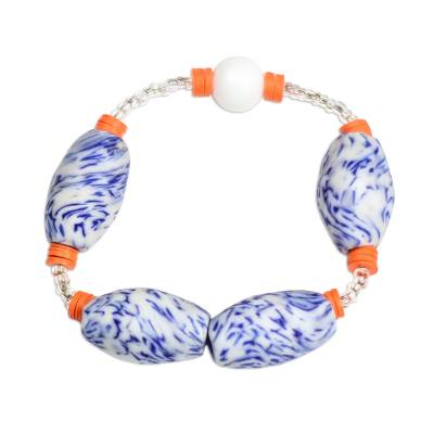 Blue and Orange Recycled Glass and Plastic Bracelet