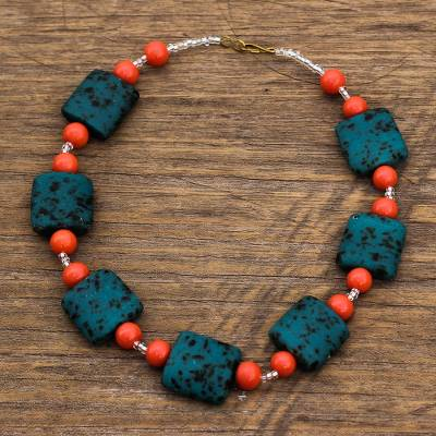 Recycled glass and plastic beaded necklace, 'Beautiful Nyamekye' - Recycled Glass and Plastic Beaded Necklace from Ghana