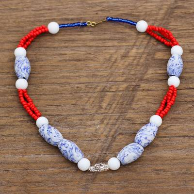Recycled glass and plastic beaded necklace, 'Bohemian Lorm' - Boho Recycled Glass and Plastic Beaded Necklace from Ghana
