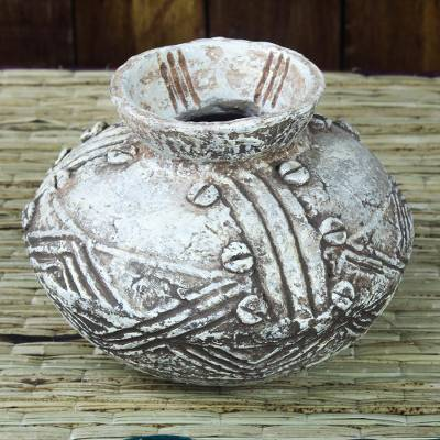 Ceramic decorative vase, 'Dotted Intricacy' - Rustic Patterned Ceramic Decorative Vase from Ghana