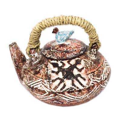 Adinkra-Themed Ceramic Decorative Teapot from Ghana