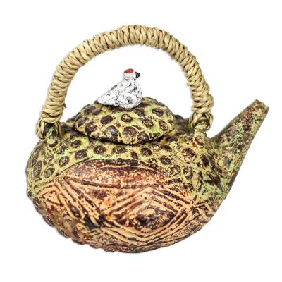 Dot and Diamond Pattern Ceramic Decorative Teapot