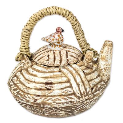 Textured Ceramic Decorative Teapot from Ghana