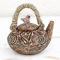 Ceramic decorative teapot, 'Sankofa Charm' - Sankofa Adinkra Ceramic Decorative Teapot from Ghana