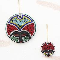 Recycled plastic beaded wood ornaments, 'Ashanti Beauty' (pair)