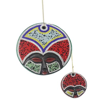 Recycled plastic beaded wood ornaments, 'Ashanti Beauty' (pair) - Recycled Plastic Beaded Wood Ornaments from Ghana (Pair)