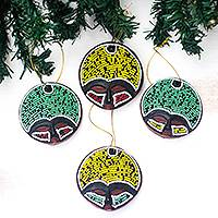 Recycled plastic beaded wood ornaments, 'Ashanti Faces' (set of 4)