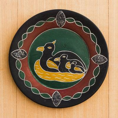 Wood decorative plate, Duck Family