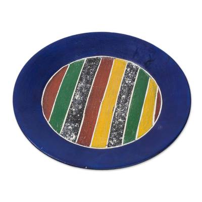 Wood decorative plate, 'Blue Border' - Striped Sese Wood Decorative Plate with a Blue Border