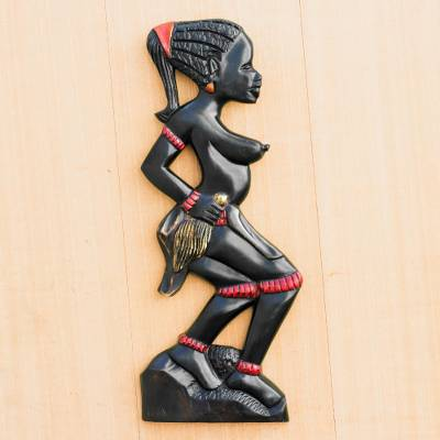 Wood wall sculpture, 'Dipo Dancer' - Hand-Carved Wood Dipo Dancer Wall Sculpture from Ghana