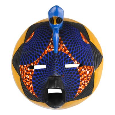 African wood mask, 'Traditional Print II' - African Wood Mask with Printed Cotton in Blue and Orange
