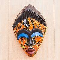 Cotton accented African wood mask, 'African Print' - African Wood Mask with Printed Cotton Accent from Ghana