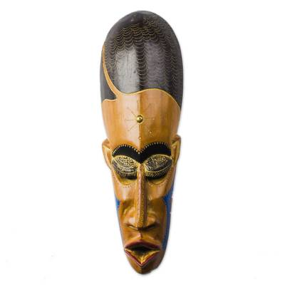 African Wood Mask in Brown with Brass Accents from Ghana