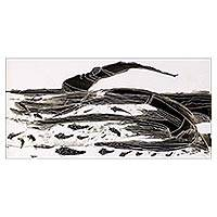 'Safety' - Signed Black and White Seascape Painting from Ghana