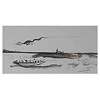 'Fading Faith Between Waters' - Signed Black and White Seascape Painting from Ghana