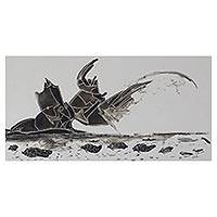 'Direction' - Black and White Seascape Expressionist Painting from Ghana
