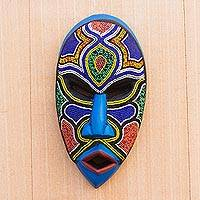 African beaded wood mask, 'Beaded Love'