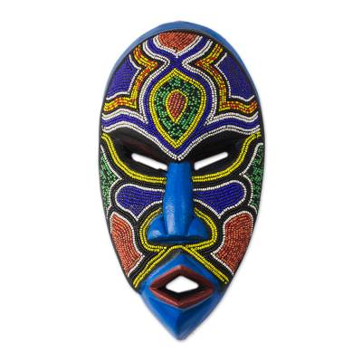African beaded wood mask, 'Beaded Love' - Recycled Plastic Beaded African Wood Mask from Ghana