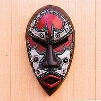 African wood mask, 'African Lover' - African Wood and Aluminum Mask from Ghana