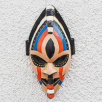 African wood mask, 'Adom Color' - Colorful African Wood Mask Crafted in Ghana