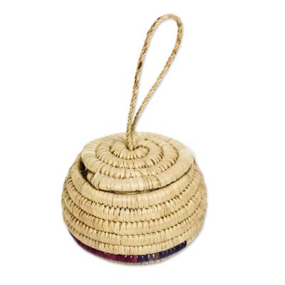 Handwoven Natural Raffia Fiber Hanging Basket from Ghana