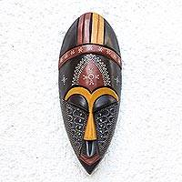African wood mask, 'Face of Greatness' - Colorful Aluminum Accented African Wood Mask from Ghana