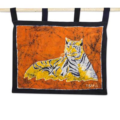 Tiger-Themed Batik Cotton Wall Hanging from Ghana