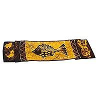 Cotton batik table runner, 'Bubbly Fish' - Hand-Painted Cotton Batik Fish Table Runner from Ghana