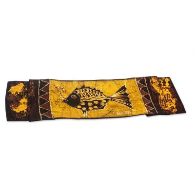 Hand-Painted Cotton Batik Fish Table Runner from Ghana