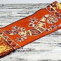 Cotton batik table runner, 'Tangerine Gecko' - Gecko-Themed Batik Cotton Table Runner from Ghana