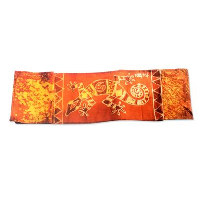 Cotton batik table runner, 'Tangerine Gecko' - Gecko-Themed Batik Cotton Table Runner from Ghana