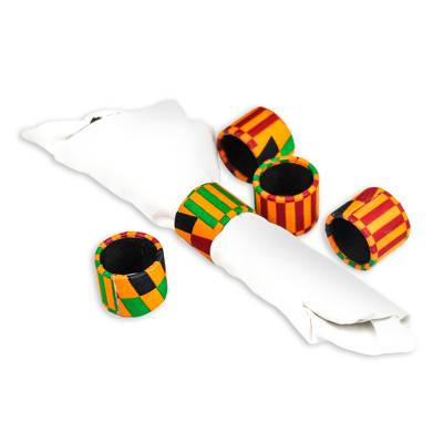 Cotton and recycled plastic napkin rings,