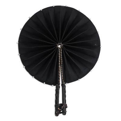 Cotton and leather fan, 'Black Star' - Black Cotton and Leather Fan Crafted in Ghana