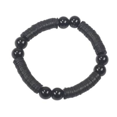Recycled plastic beaded stretch bracelet,