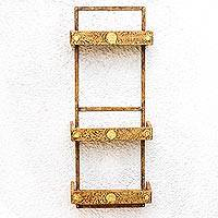 Three-tier wall shelf, 'Ancient Symbol' - Three Tier Wood Wall Shelf with Rustic Finish