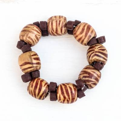 Recycled glass and wood beaded stretch bracelet, 'Eco Zebra' - Zebra Print Recycled Glass and Wood Beaded Stretch Bracelet