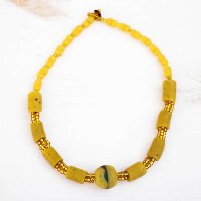 Glass beaded necklace, 'Eco Yellow' - Yellow Recycled Glass Beaded Necklace from Ghana