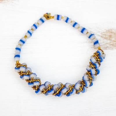 Recycled glass beaded torsade necklace, 'Eco Glory' - Recycled Glass Beaded Torsade Necklace in Blue from Ghana
