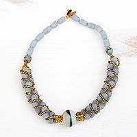 Recycled glass beaded torsade necklace, 'Eco Gleam' - Recycled Glass Beaded Torsade Necklace from Ghana