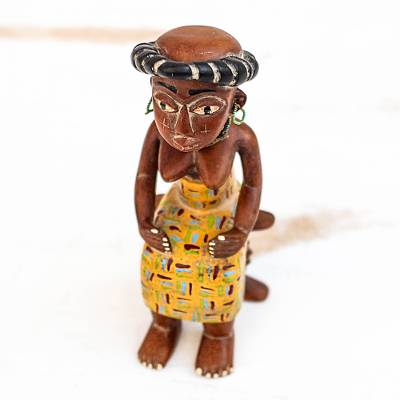Wood sculpture, 'Sitting Fante Woman' - Hand-Carved Sese Wood Fante Woman Sculpture from Ghana