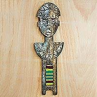 Fiberglass and cotton wall sculpture, 'Face of Culture' - Fiberglass and Cotton Wall Sculpture Crafted in Ghana